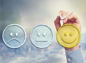 Customer satisfaction survey on a sky background