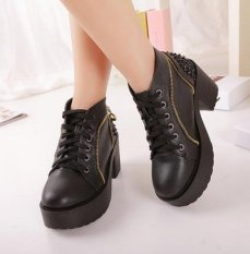 Free-shipping-chunky-high-heels-fashion-rivets-ankle-boots-for-women-platform-shoes-woman-punk-booties